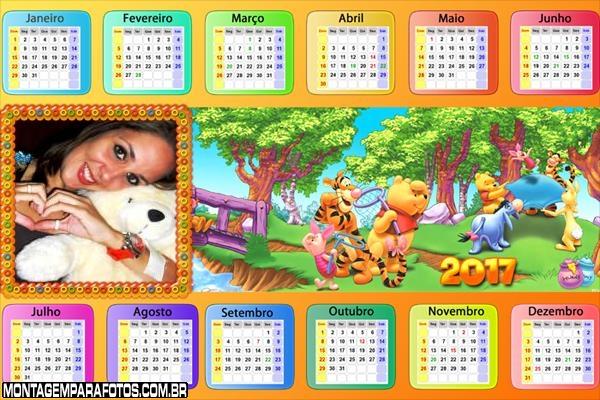 Calendário 2017 Amigos do Pooh