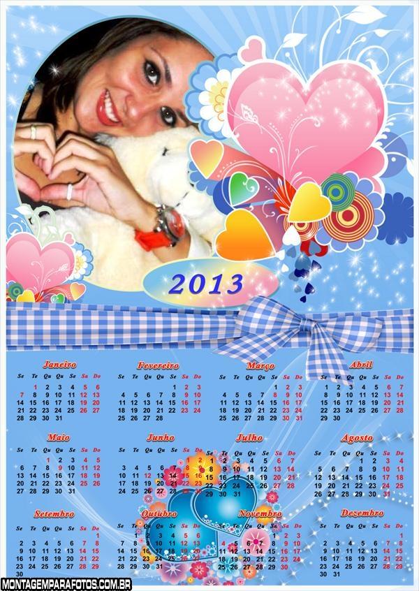 Calendário Corações Coloridos