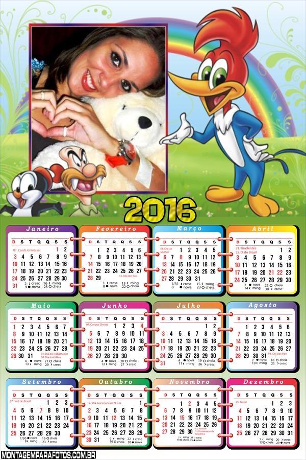 Calendário Pica Pau e Personagens 2016
