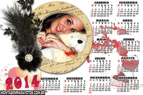 Calendário Flor Preta 2014
