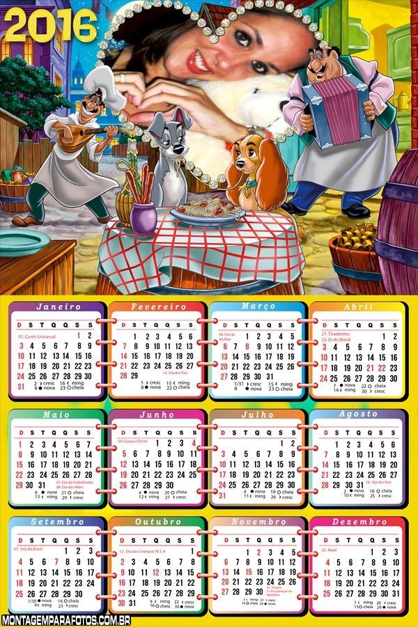 Calendário 2016 A Dama e o Vagabundo Desenho