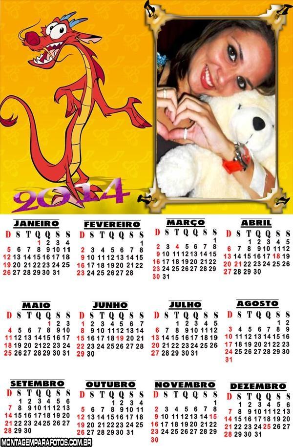 Calendário 2014 de Dragão