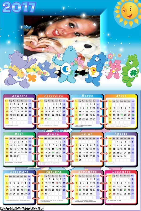 Calendário 2017 Ursinhos Carinhosos Desenho