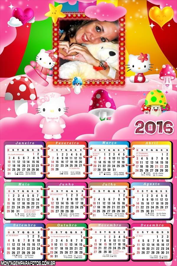 Calendário Hello Kitty 2016 Desenho