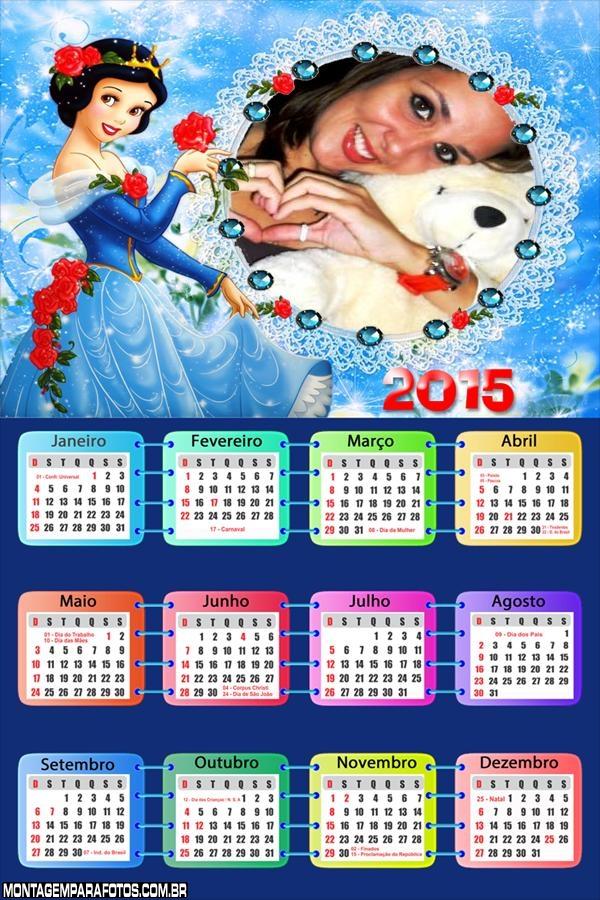 Calendário 2015 Branca de Neve