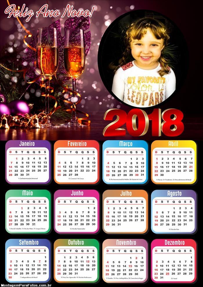 Montagem Ano Novo Calendário 2018