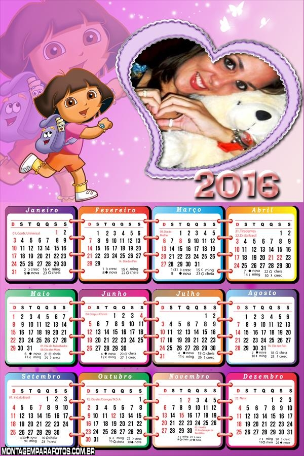 Calendário Dora Amor Coração 2016