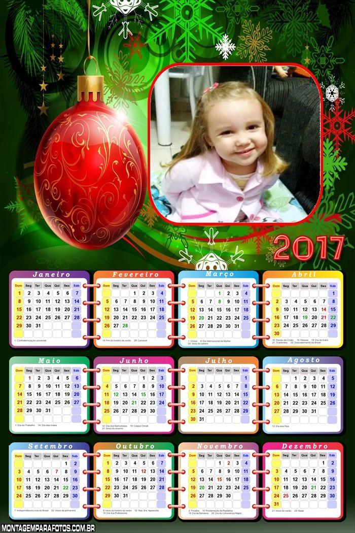 Calendário 2017 Natal para Imprimir