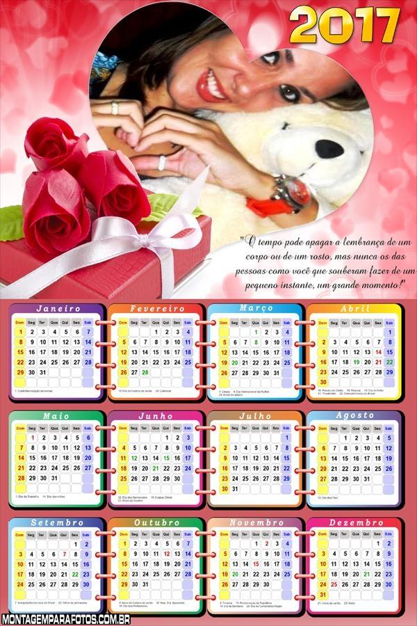 Calendário 2017 Coração Romântico com Mensagem