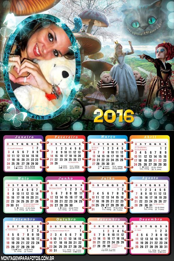 Calendário 2016 Alice no País das Maravilhas Filme