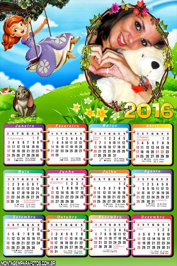 Calendário Princesa Sofia Festa 2016