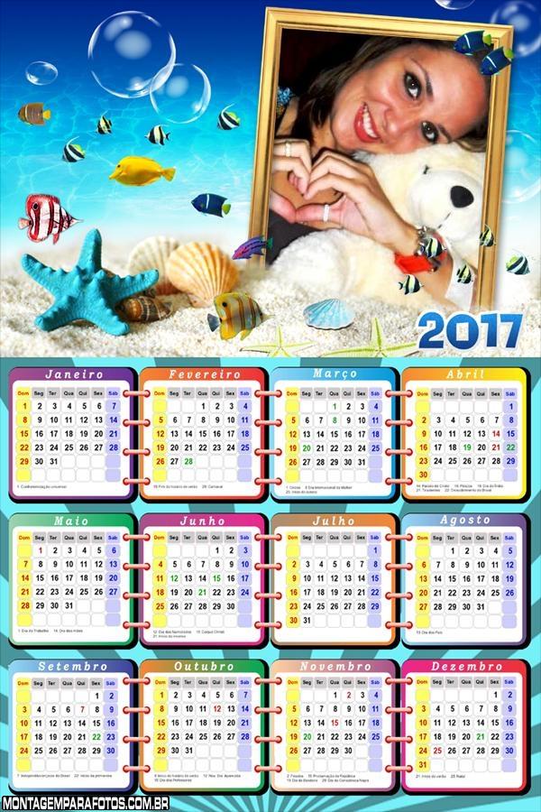 Calendário 2017 Fundo do Mar