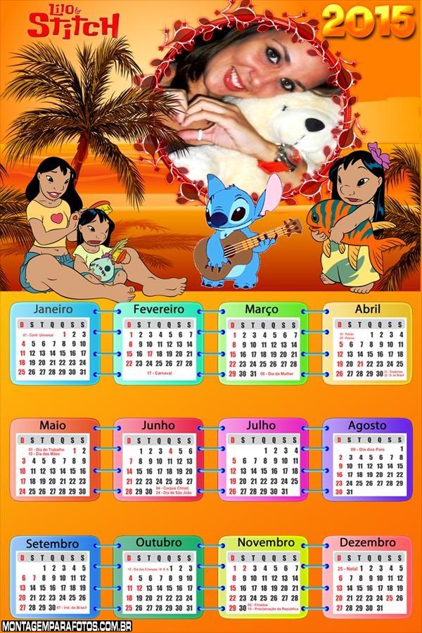 Calendário 2015 Lilo e Stitch