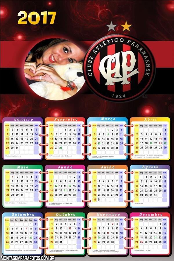 Calendário 2017 Atlético Paranaense Time de Futebol