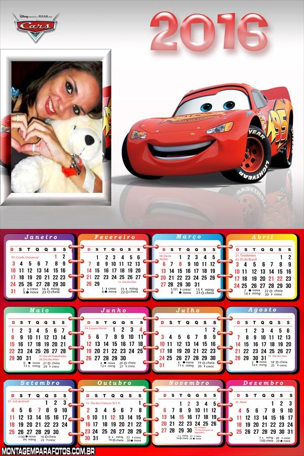 Calendário Relâmpago Mcqueen 2016 Filme Carros