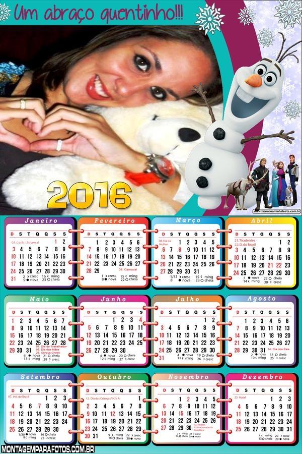 Calendário 2016 Frozen Olaf Um Abraço Quentinho