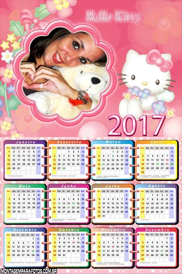 Calendário 2017 Desenho Hello Kitty