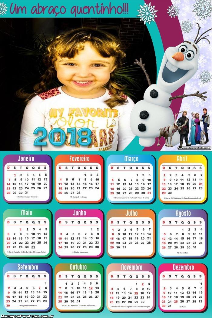 Calendário 2018 do Olaf Frozen