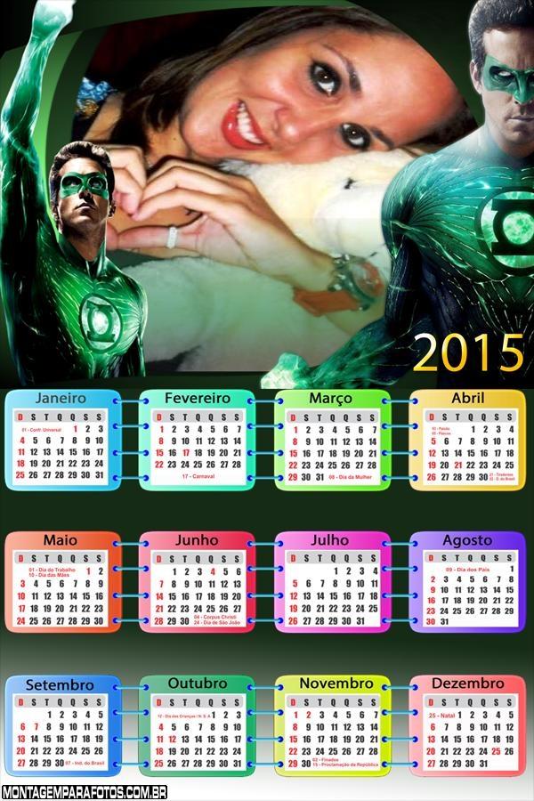 Calendário 2015 Lanterna Verde