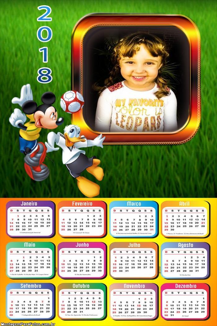 Calendário 2018 Pato Donald e Mickey Futebol