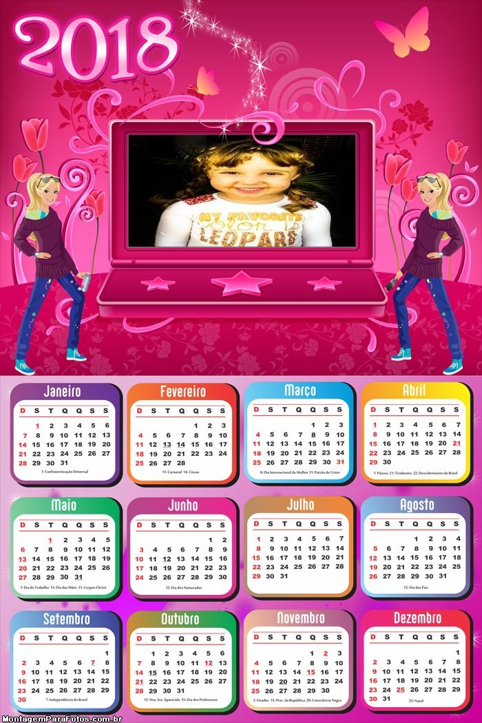 Calendário 2018 Notebook Barbie