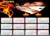 Calendário para Namorados Coração e Velas 2016