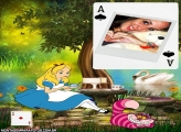 Alice e Gato Moldura de Carta