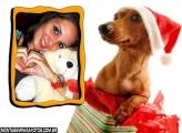 Moldura Cachorro Feliz Natal