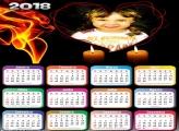Calendário 2018 Romântico Coração e Fogo