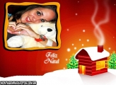 Moldura Feliz Natal Casinha