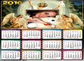 Moldura Calendário Jesus Cristo e Anjos 2016