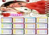 Calendário 2017 Flores Vermelhas Românticas