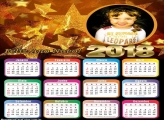 FotoMontagem Calendário 2018 Estrelas Douradas