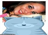 Gato Azul com Borboleta Rosa