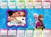 Calendário Frozen Elsa e Anna 2016 Horizontal