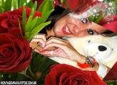 Cartão e Rosas Vermelhas