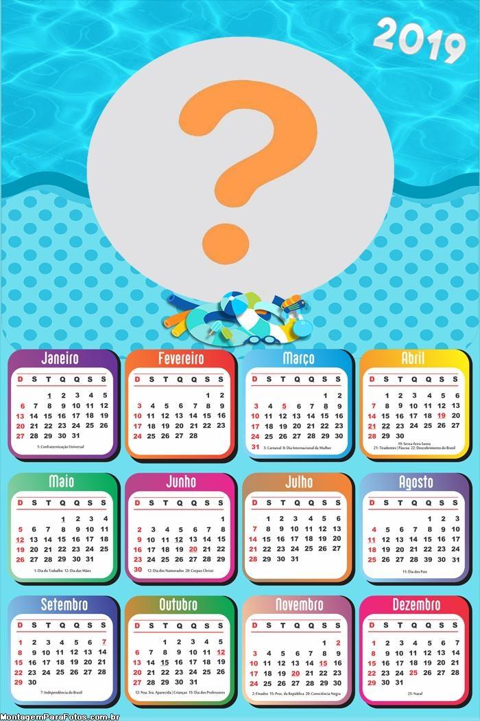 Calendário 2019 Infantil na Praia