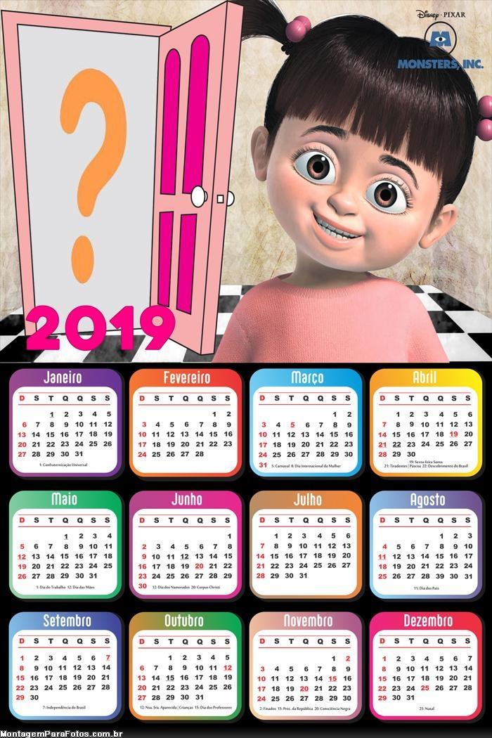 Calendário 2019 Monstros S A Buh
