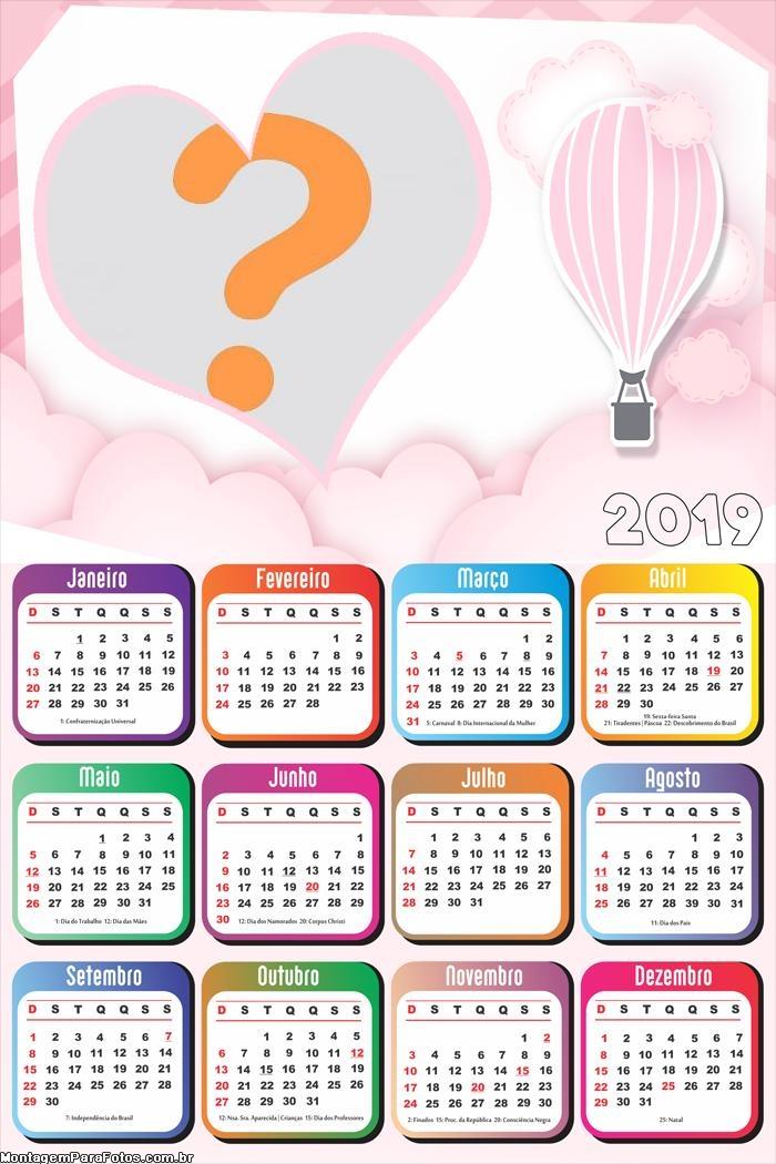 Calendário 2019 Balão de Ar Rosa
