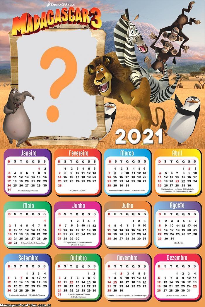 Emoldurar Grátis Calendário 2021 Madagascar