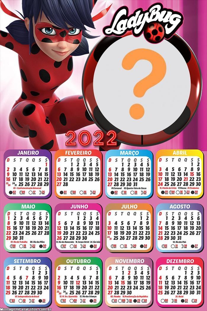 Calendário 2022 LadyBug Boneca Gratuito