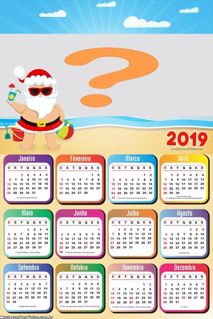Calendário 2019 Papai Noel de Férias