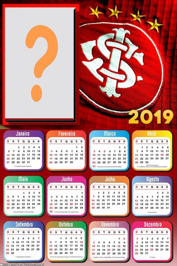 Calendário 2019 Internacional Time Futebol