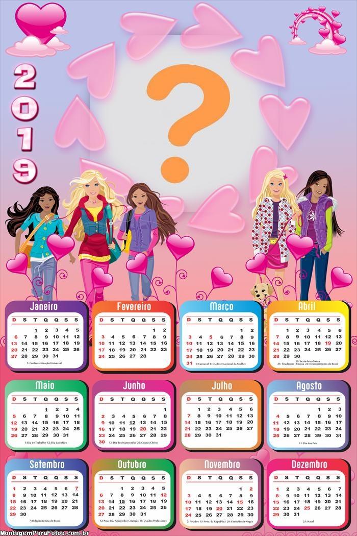 Calendário 2019 da Barbie Girls