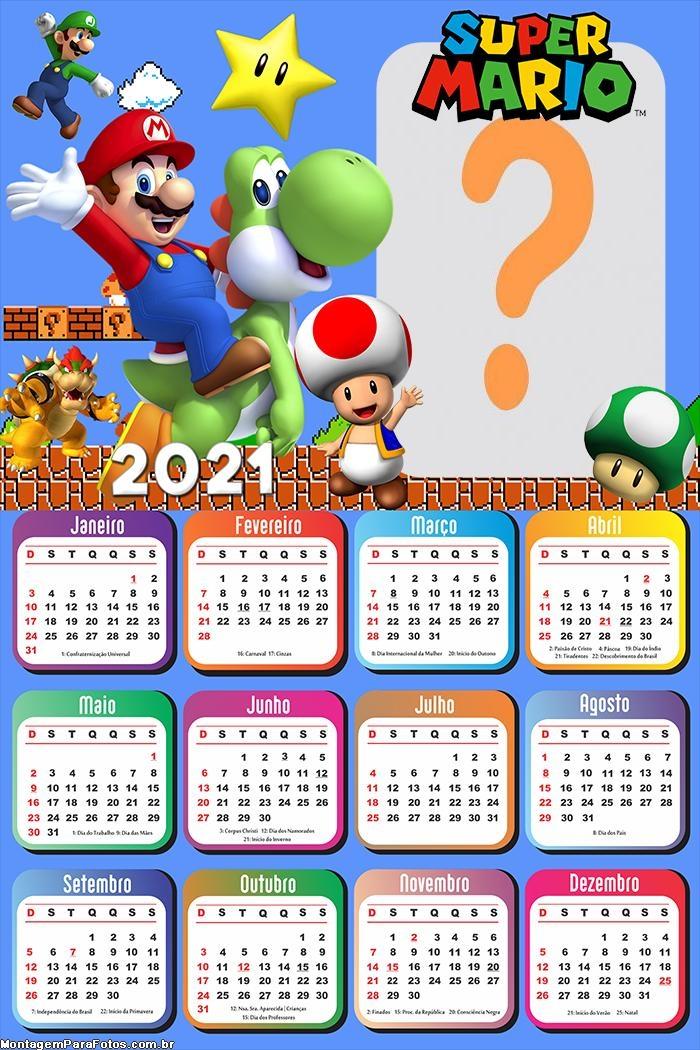 Calendário 2021 Super Mario Foto Montagem