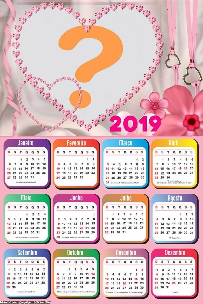Calendário 2019 Coração Romântico