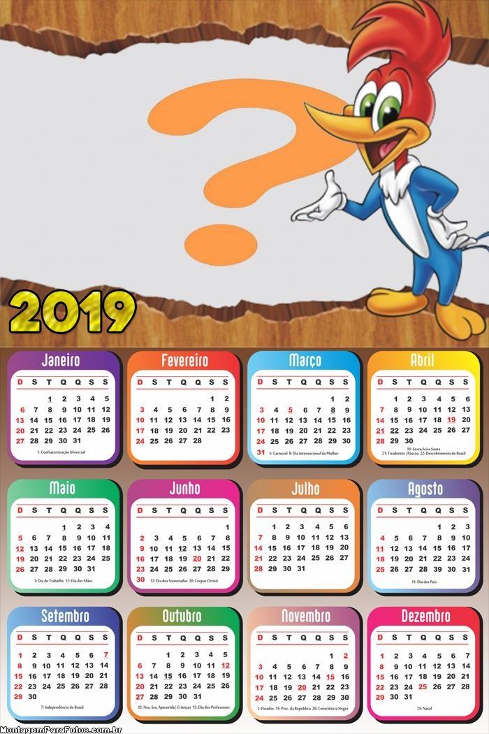 Calendário 2019 do Pica Pau