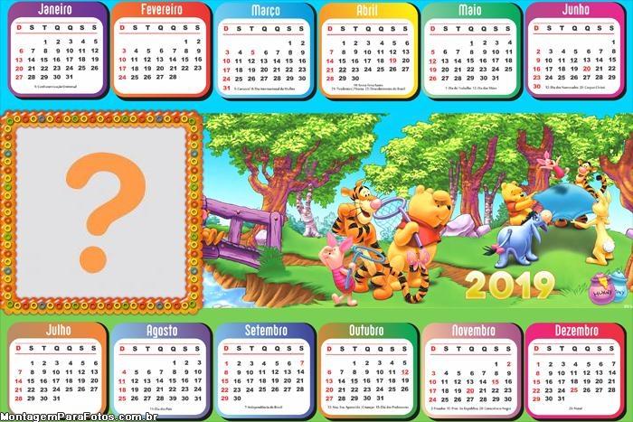 Calendário 2019 Urso Pooh Caçando