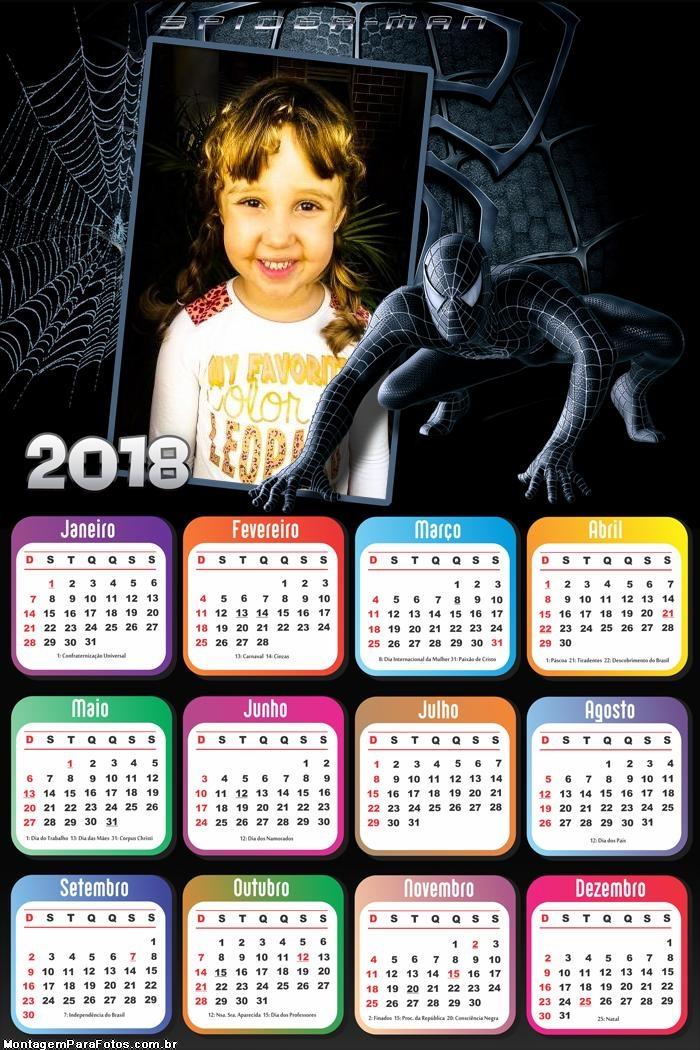 Calendário 2018 Homem Aranha Preto do Mal