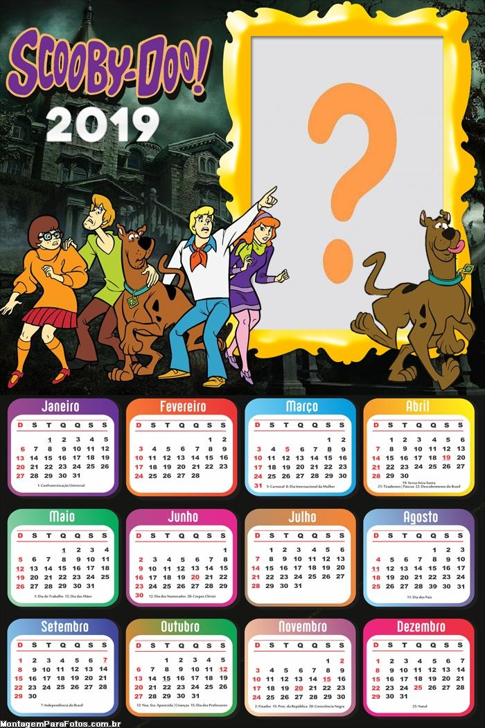 Calendário 2019 Personagens Scooby Doo